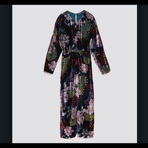 Zara velvet textured long dress
